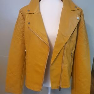 Faux-Leather Asymmetrical Moto Jacket